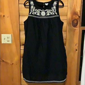 Black Linen Shift Dress with Pockets Sz XL